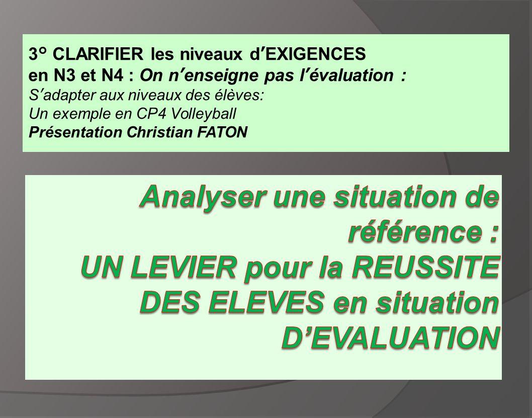 3° CLARIFIER les niveaux d'EXIGENCES en N3 et N4 : On n'enseigne pas l'évaluation : S'adapter aux niveaux des élèves: Un exemple en CP4 Volleyball Pré