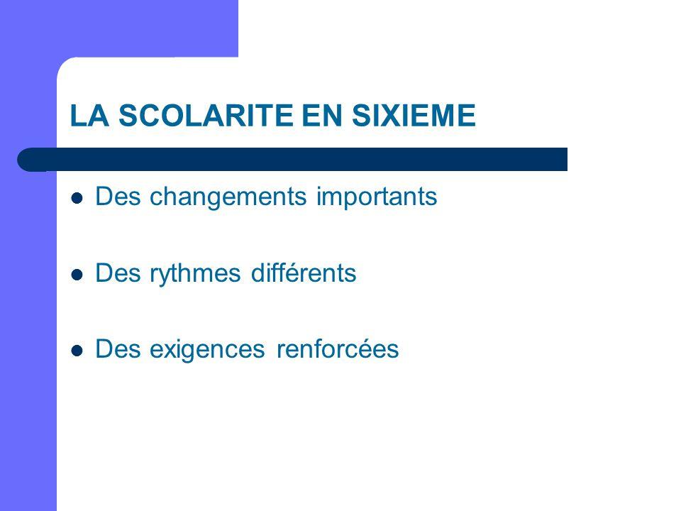 LA SCOLARITE EN SIXIEME Des changements importants Des rythmes différents Des exigences renforcées
