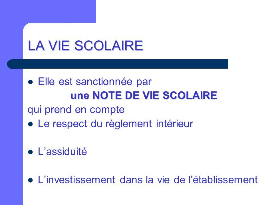 LA VIE SCOLAIRE Elle est sanctionnée par une NOTE DE VIE SCOLAIRE qui prend en compte Le respect du règlement intérieur L'assiduité L'investissement d
