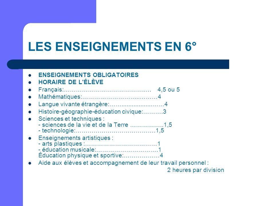 LES ENSEIGNEMENTS EN 6° ENSEIGNEMENTS OBLIGATOIRES HORAIRE DE L'ÉLÈVE Français:…………………………………..… 4,5 ou 5 Mathématiques:………………………..………4 Langue vivante