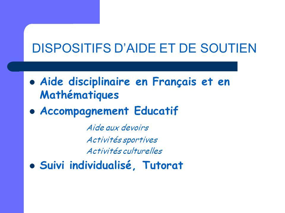 DISPOSITIFS D'AIDE ET DE SOUTIEN Aide disciplinaire en Français et en Mathématiques Accompagnement Educatif Aide aux devoirs Activités sportives Activ