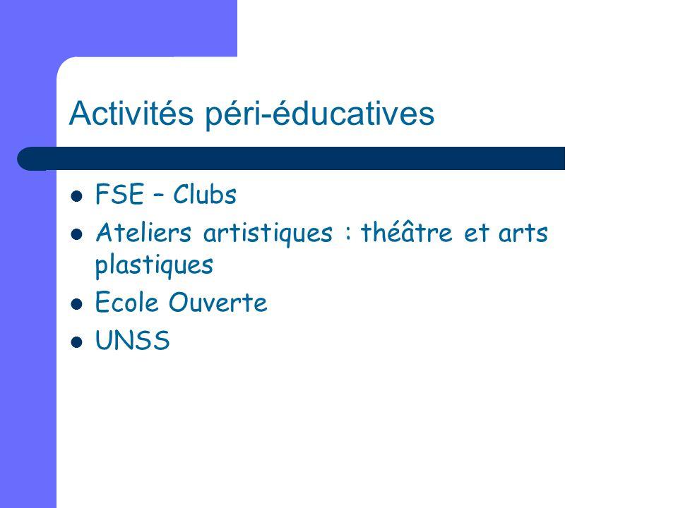 Activités péri-éducatives FSE – Clubs Ateliers artistiques : théâtre et arts plastiques Ecole Ouverte UNSS