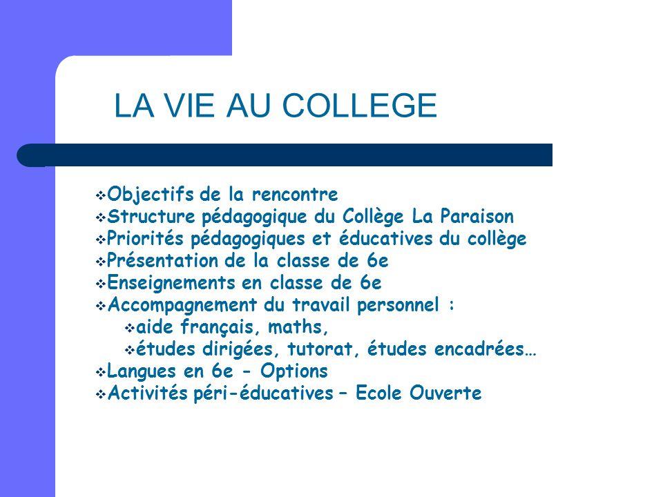 LA VIE AU COLLEGE  Objectifs de la rencontre  Structure pédagogique du Collège La Paraison  Priorités pédagogiques et éducatives du collège  Prése