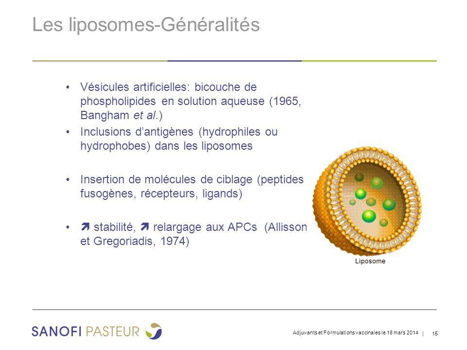 | 15 Les liposomes-Généralités Vésicules artificielles: bicouche de phospholipides en solution aqueuse (1965, Bangham et al.) Inclusions d'antigènes (hydrophiles ou hydrophobes) dans les liposomes Insertion de molécules de ciblage (peptides fusogènes, récepteurs, ligands)  stabilité,  relargage aux APCs (Allisson et Gregoriadis, 1974) Adjuvants et Formulations vaccinales le 18 mars 2014