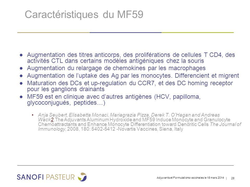 | 28 Caractéristiques du MF59 ● Augmentation des titres anticorps, des proliférations de cellules T CD4, des activités CTL dans certains modèles antigéniques chez la souris ● Augmentation du relargage de chemokines par les macrophages ● Augmentation de l'uptake des Ag par les monocytes.