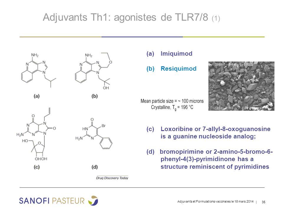 | 35 (a)Imiquimod (b)Resiquimod (c)Loxoribine or 7-allyl-8-oxoguanosine is a guanine nucleoside analog; (d) bromopirimine or 2-amino-5-bromo-6- phenyl-4(3)-pyrimidinone has a structure reminiscent of pyrimidines Adjuvants Th1: agonistes de TLR7/8 (1) Adjuvants et Formulations vaccinales le 18 mars 2014