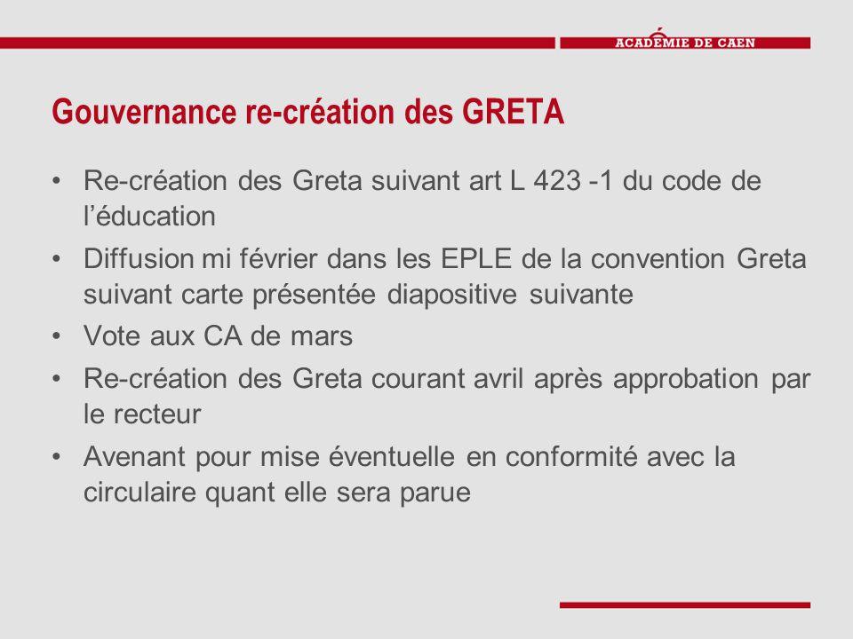 Gouvernance re-création des GRETA Re-création des Greta suivant art L 423 -1 du code de l'éducation Diffusion mi février dans les EPLE de la conventio