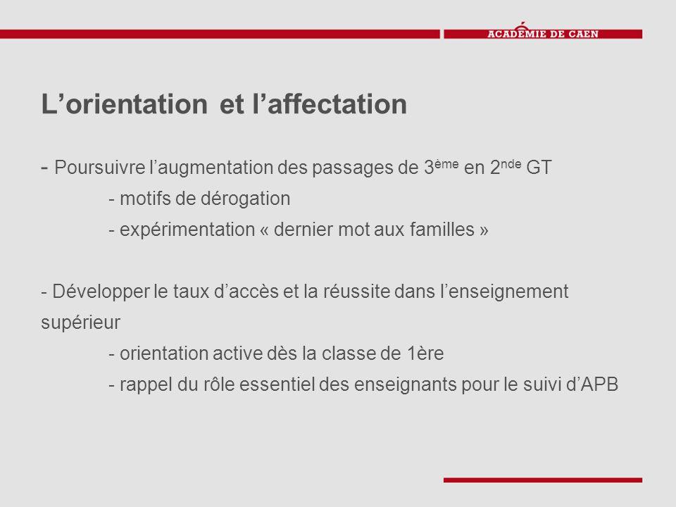L'orientation et l'affectation - Poursuivre l'augmentation des passages de 3 ème en 2 nde GT - motifs de dérogation - expérimentation « dernier mot au