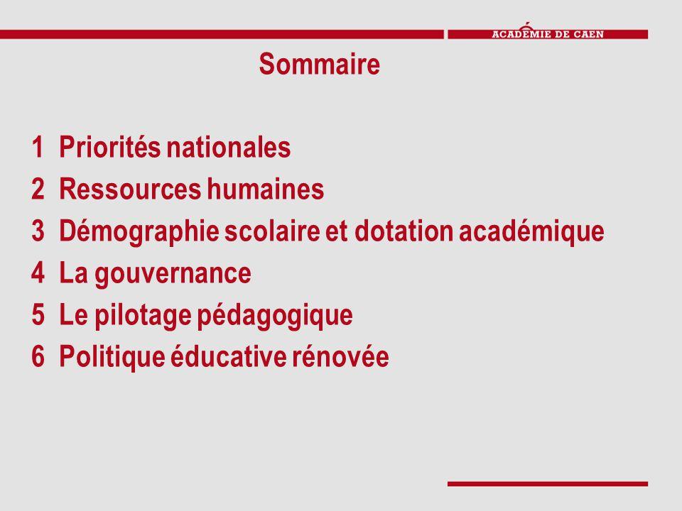 1 Priorités nationales 2 Ressources humaines 3 Démographie scolaire et dotation académique 4 La gouvernance 5 Le pilotage pédagogique 6 Politique éduc