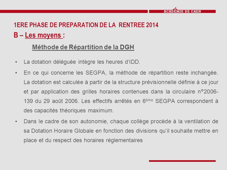 La dotation déléguée intègre les heures d'IDD. En ce qui concerne les SEGPA, la méthode de répartition reste inchangée. La dotation est calculée à par