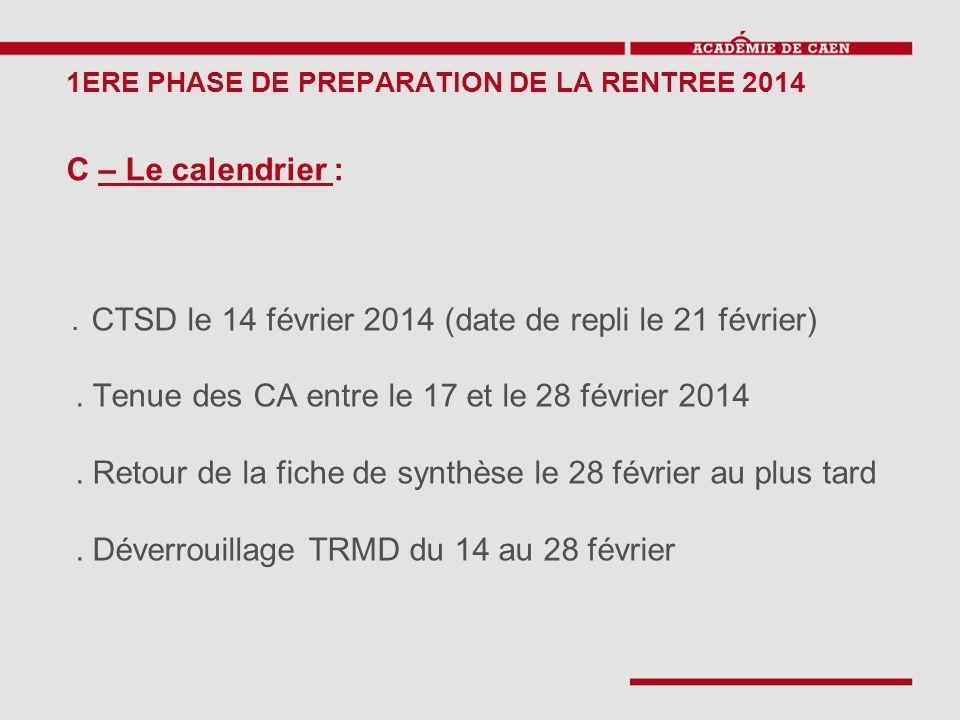 1ERE PHASE DE PREPARATION DE LA RENTREE 2014 C – Le calendrier :. CTSD le 14 février 2014 (date de repli le 21 février). Tenue des CA entre le 17 et l
