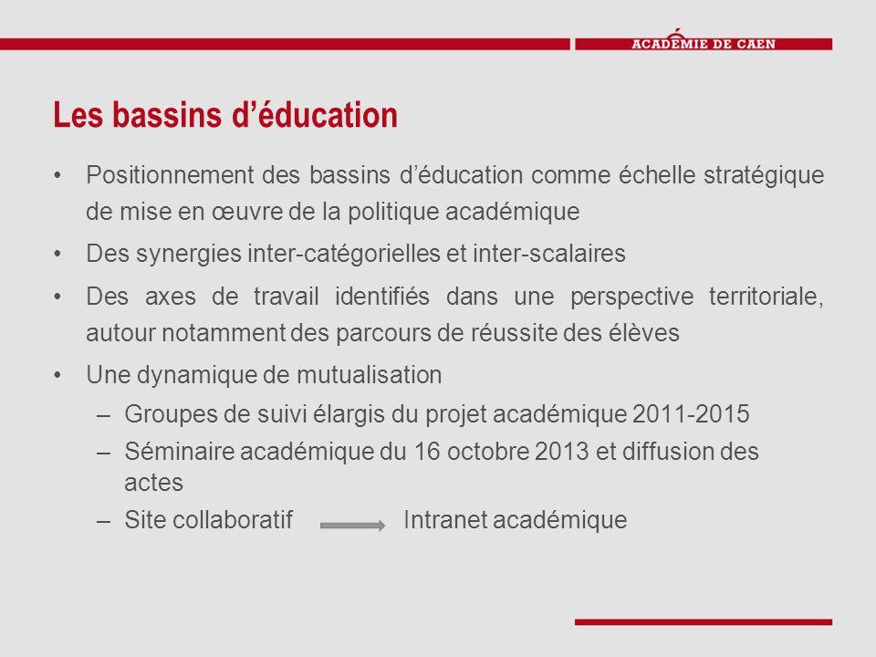 Les bassins d'éducation Positionnement des bassins d'éducation comme échelle stratégique de mise en œuvre de la politique académique Des synergies int