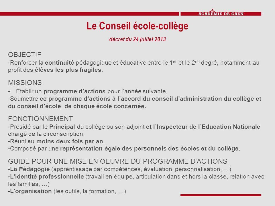 Le Conseil école-collège décret du 24 juillet 2013 OBJECTIF -Renforcer la continuité pédagogique et éducative entre le 1 er et le 2 nd degré, notamment au profit des élèves les plus fragiles.