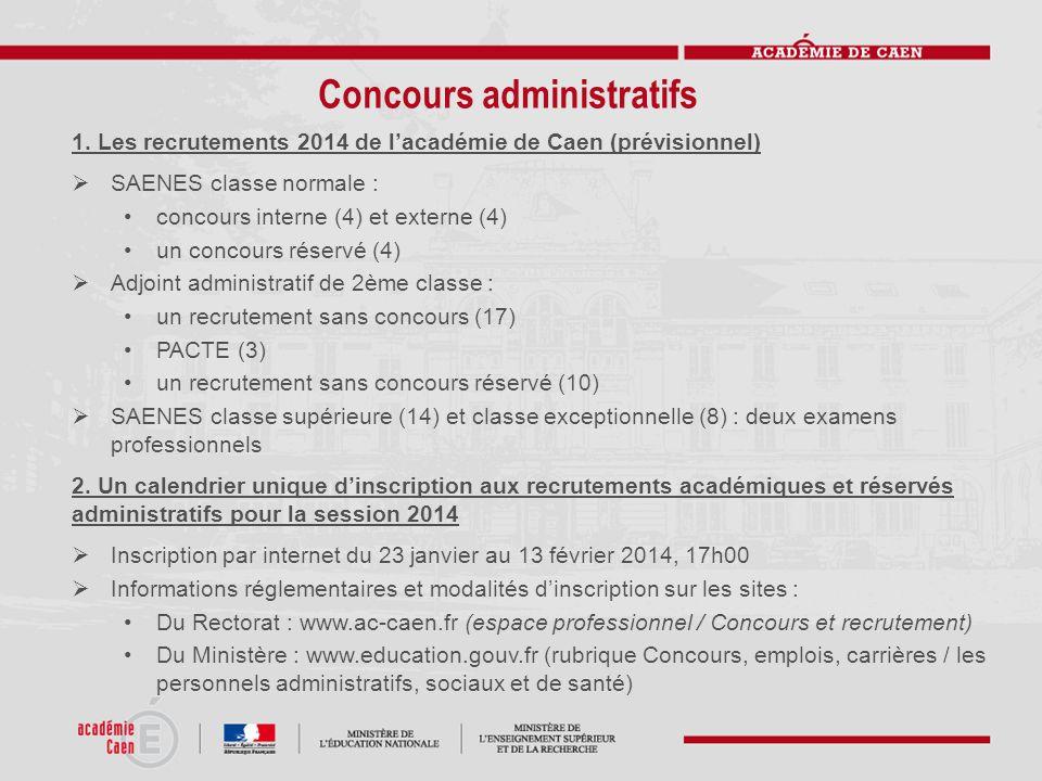 Concours administratifs 1. Les recrutements 2014 de l'académie de Caen (prévisionnel)  SAENES classe normale : concours interne (4) et externe (4) un