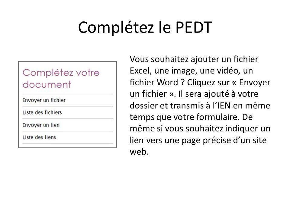 Complétez le PEDT Vous souhaitez ajouter un fichier Excel, une image, une vidéo, un fichier Word ? Cliquez sur « Envoyer un fichier ». Il sera ajouté