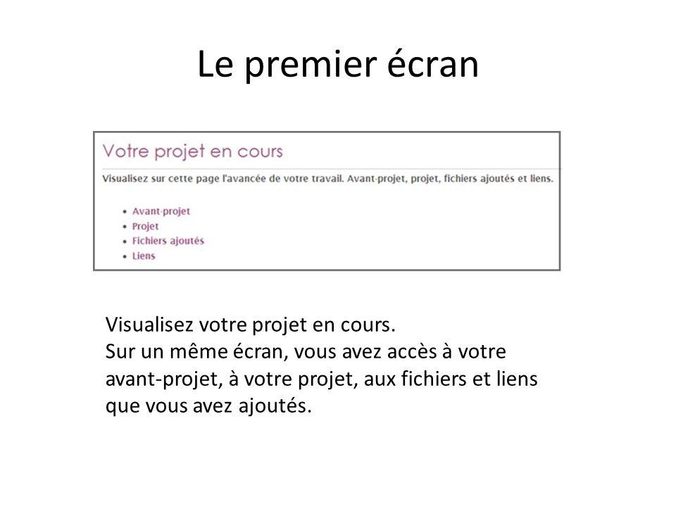 Le premier écran Visualisez votre projet en cours. Sur un même écran, vous avez accès à votre avant-projet, à votre projet, aux fichiers et liens que
