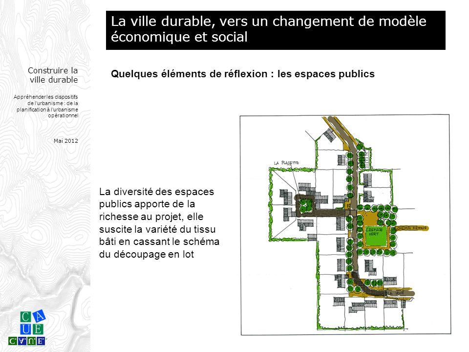 Construire la ville durable Appréhender les dispositifs de l'urbanisme : de la planification à l'urbanisme opérationnel Mai 2012 La diversité des espa