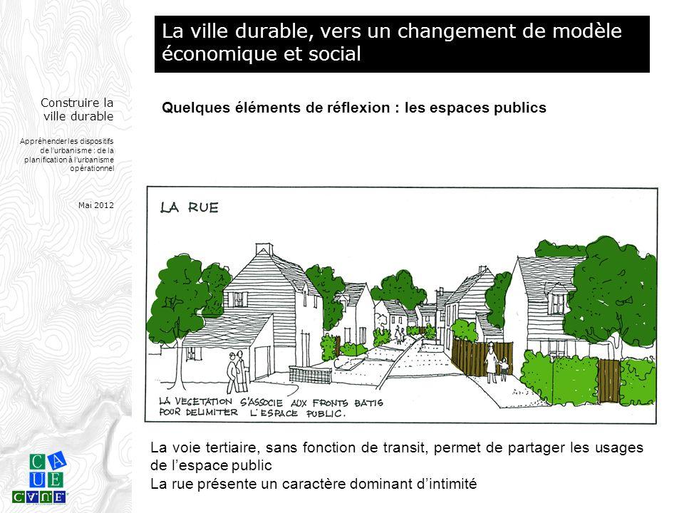 Construire la ville durable Appréhender les dispositifs de l'urbanisme : de la planification à l'urbanisme opérationnel Mai 2012 La voie tertiaire, sa