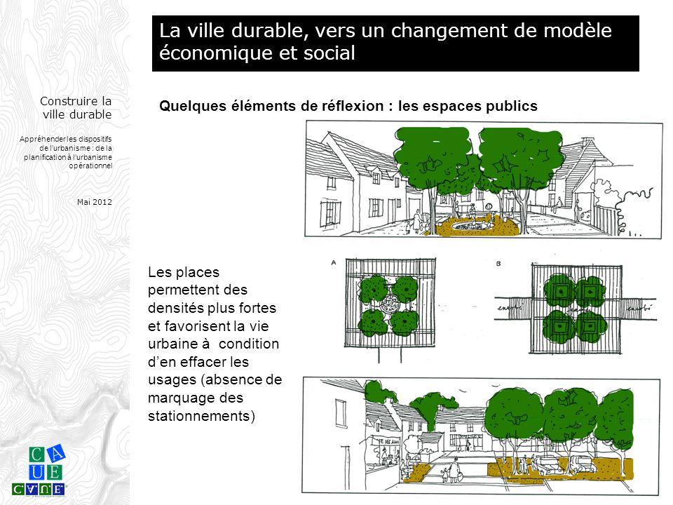 Construire la ville durable Appréhender les dispositifs de l'urbanisme : de la planification à l'urbanisme opérationnel Mai 2012 Les places permettent