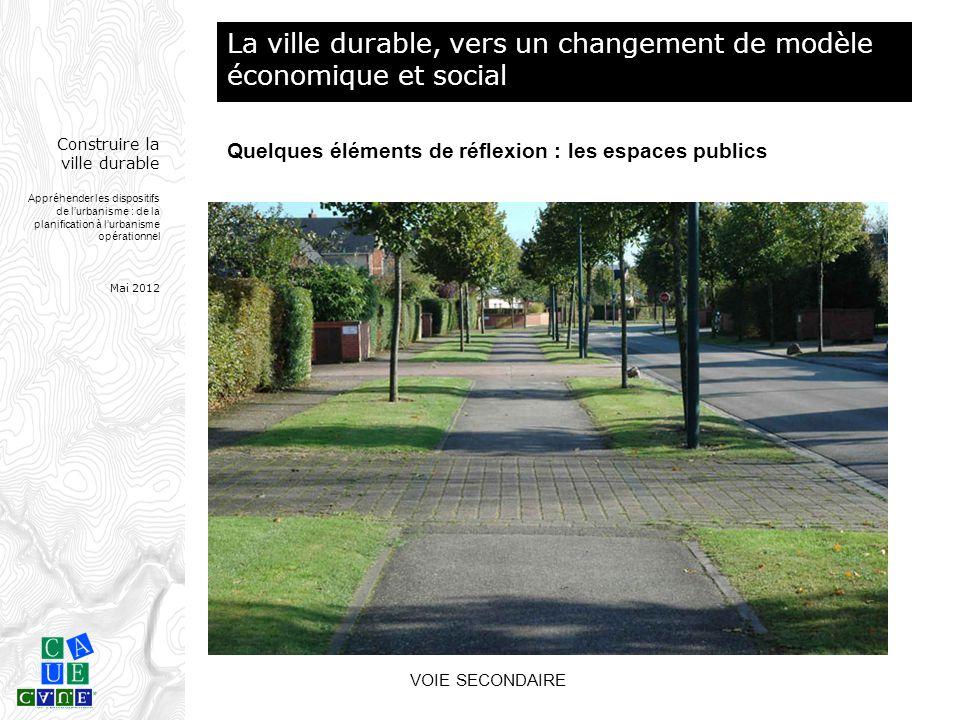 Construire la ville durable Appréhender les dispositifs de l'urbanisme : de la planification à l'urbanisme opérationnel Mai 2012 VOIE SECONDAIRE La vi