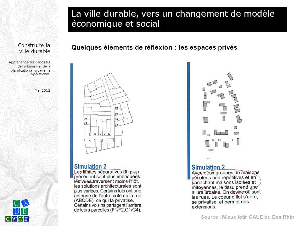 Construire la ville durable Appréhender les dispositifs de l'urbanisme : de la planification à l'urbanisme opérationnel Mai 2012 Quelques éléments de