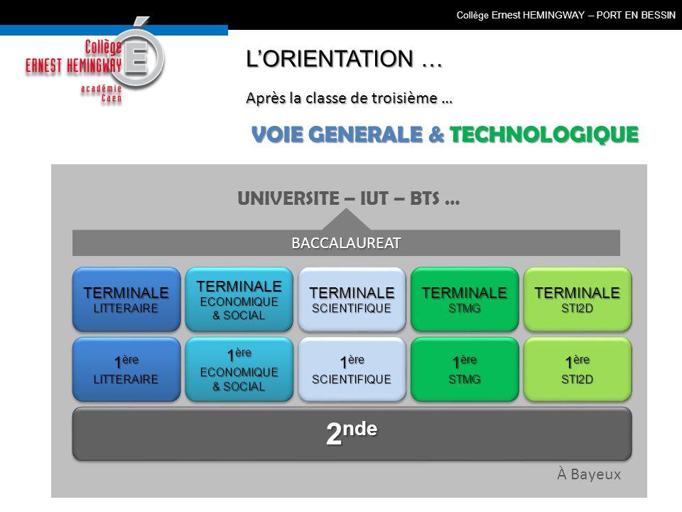 UNIVERSITE – IUT – BTS … 2 nde VOIE GENERALE & TECHNOLOGIQUE 1 ère SCIENTIFIQUE SCIENTIFIQUE TERMINALESCIENTIFIQUETERMINALESCIENTIFIQUE Collège Ernest