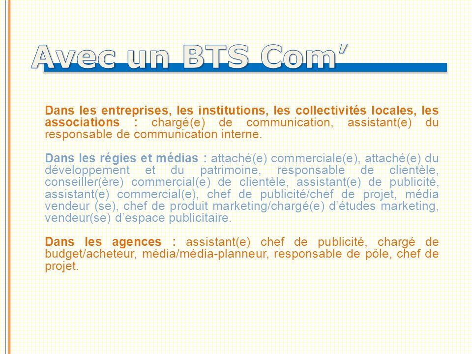 Dans les entreprises, les institutions, les collectivités locales, les associations : chargé(e) de communication, assistant(e) du responsable de communication interne.