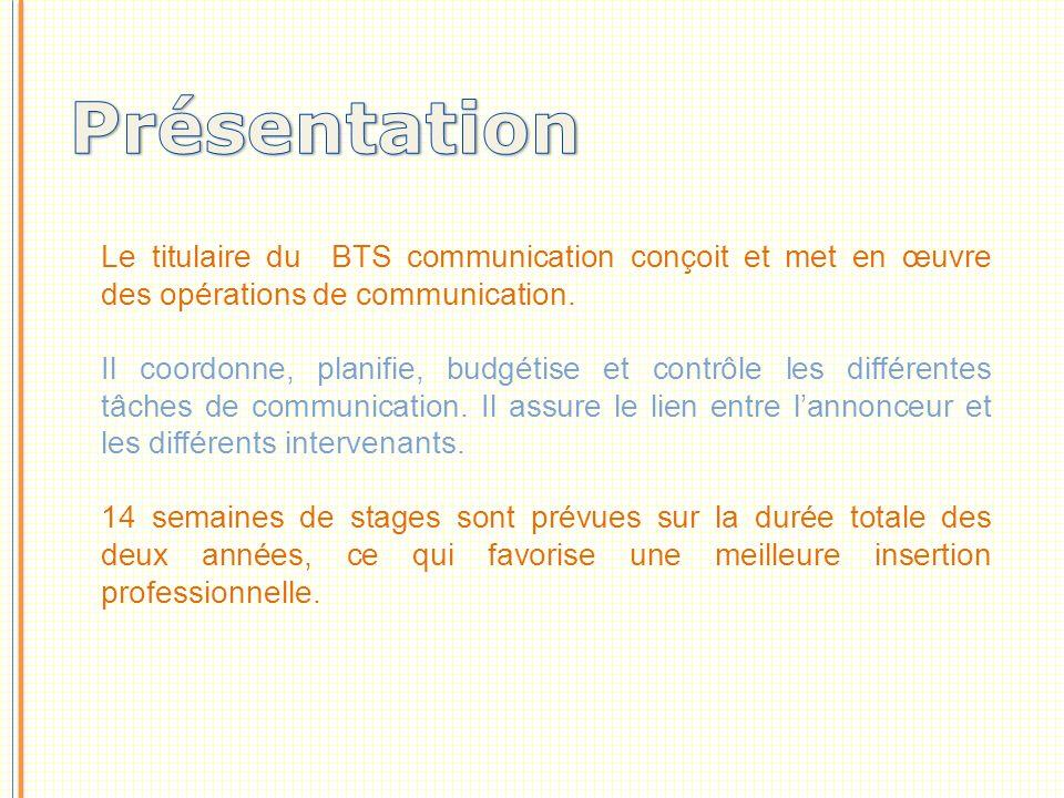 Le titulaire du BTS communication conçoit et met en œuvre des opérations de communication.