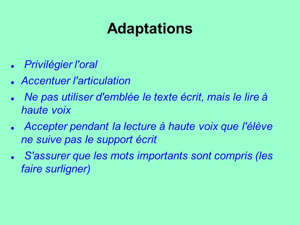 Adaptations Privilégier l'oral Accentuer l'articulation Ne pas utiliser d'emblée le texte écrit, mais le lire à haute voix Accepter pendant la lecture