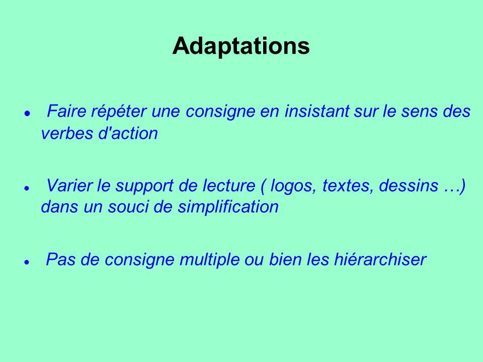 Adaptations Faire répéter une consigne en insistant sur le sens des verbes d'action Varier le support de lecture ( logos, textes, dessins …) dans un s