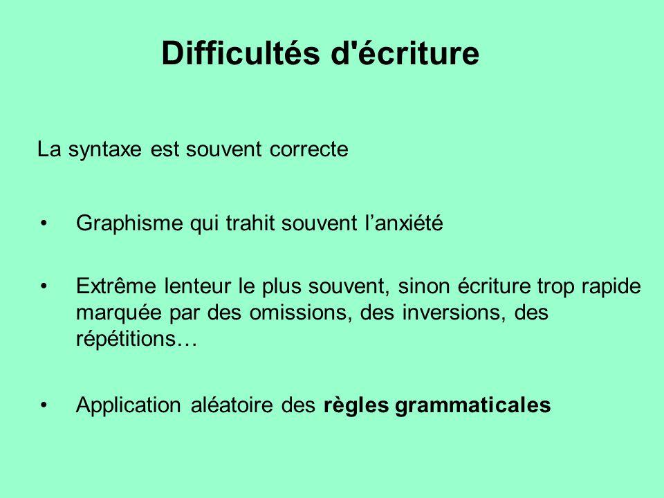La syntaxe est souvent correcte Graphisme qui trahit souvent l'anxiété Extrême lenteur le plus souvent, sinon écriture trop rapide marquée par des omi