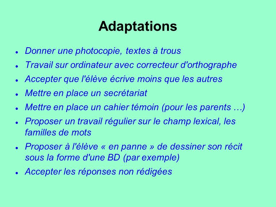 Adaptations Donner une photocopie, textes à trous Travail sur ordinateur avec correcteur d'orthographe Accepter que l'élève écrive moins que les autre