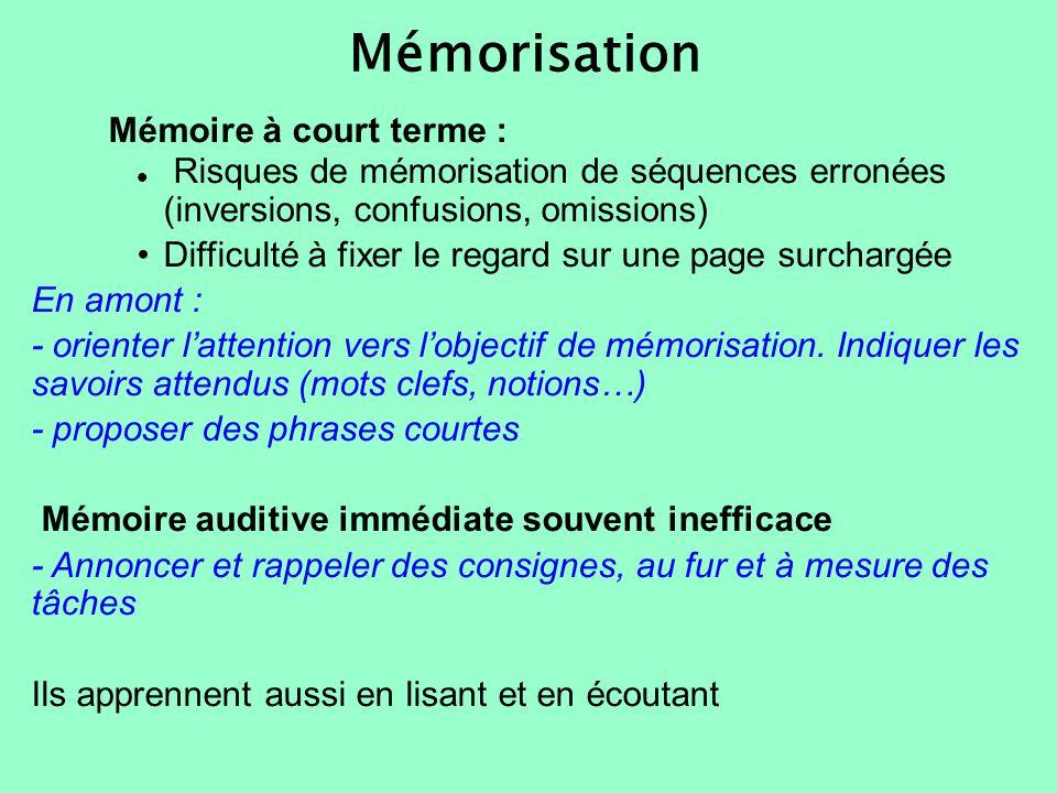 Mémorisation Mémoire à court terme : Risques de mémorisation de séquences erronées (inversions, confusions, omissions) Difficulté à fixer le regard su