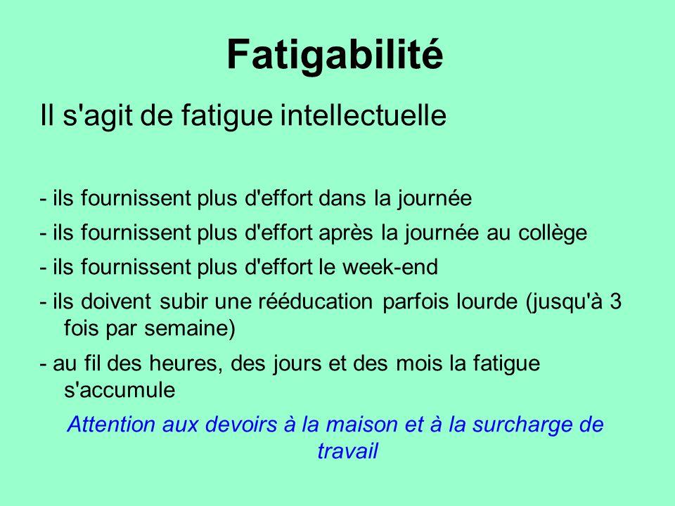 Fatigabilité Il s'agit de fatigue intellectuelle - ils fournissent plus d'effort dans la journée - ils fournissent plus d'effort après la journée au c