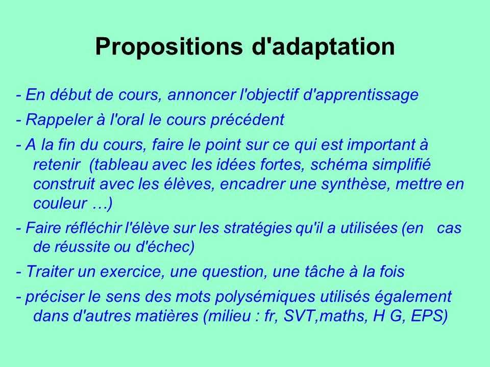 Propositions d'adaptation - En début de cours, annoncer l'objectif d'apprentissage - Rappeler à l'oral le cours précédent - A la fin du cours, faire l