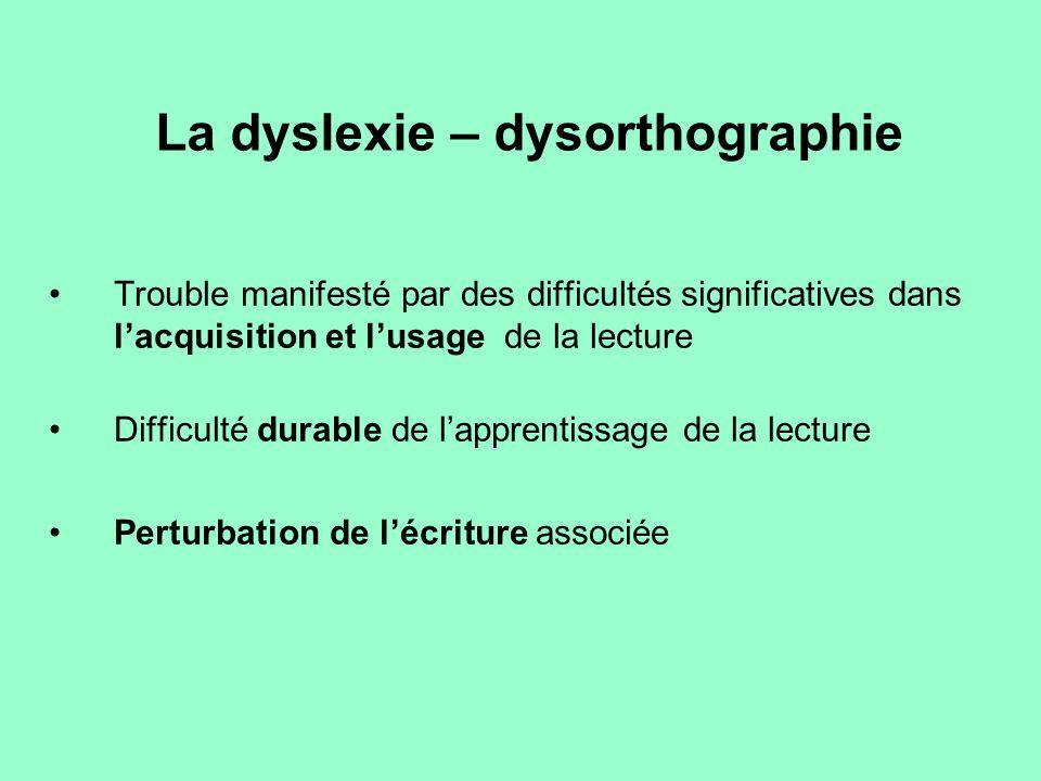 La dyslexie – dysorthographie Trouble manifesté par des difficultés significatives dans l'acquisition et l'usage de la lecture Difficulté durable de l