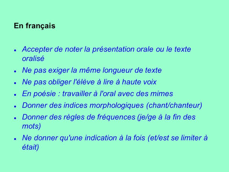En français Accepter de noter la présentation orale ou le texte oralisé Ne pas exiger la même longueur de texte Ne pas obliger l'élève à lire à haute
