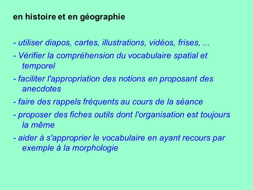 en histoire et en géographie - utiliser diapos, cartes, illustrations, vidéos, frises,... - Vérifier la compréhension du vocabulaire spatial et tempor