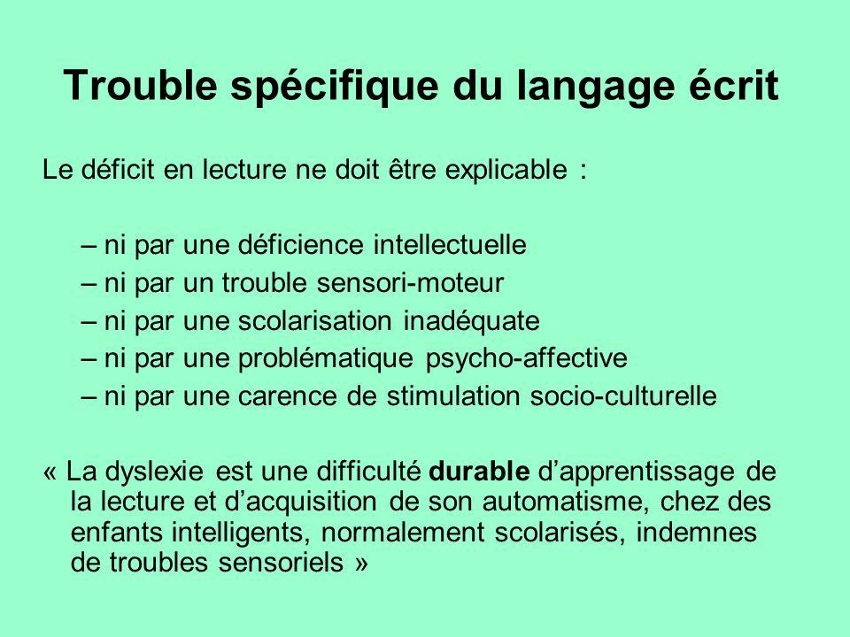 Trouble spécifique du langage écrit Le déficit en lecture ne doit être explicable : –ni par une déficience intellectuelle –ni par un trouble sensori-m