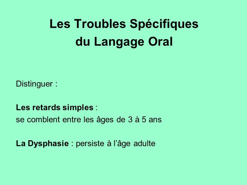 Les Troubles Spécifiques du Langage Oral Distinguer : Les retards simples : se comblent entre les âges de 3 à 5 ans La Dysphasie : persiste à l'âge ad