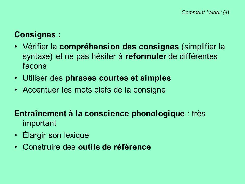 Comment l'aider (4) Consignes : Vérifier la compréhension des consignes (simplifier la syntaxe) et ne pas hésiter à reformuler de différentes façons U