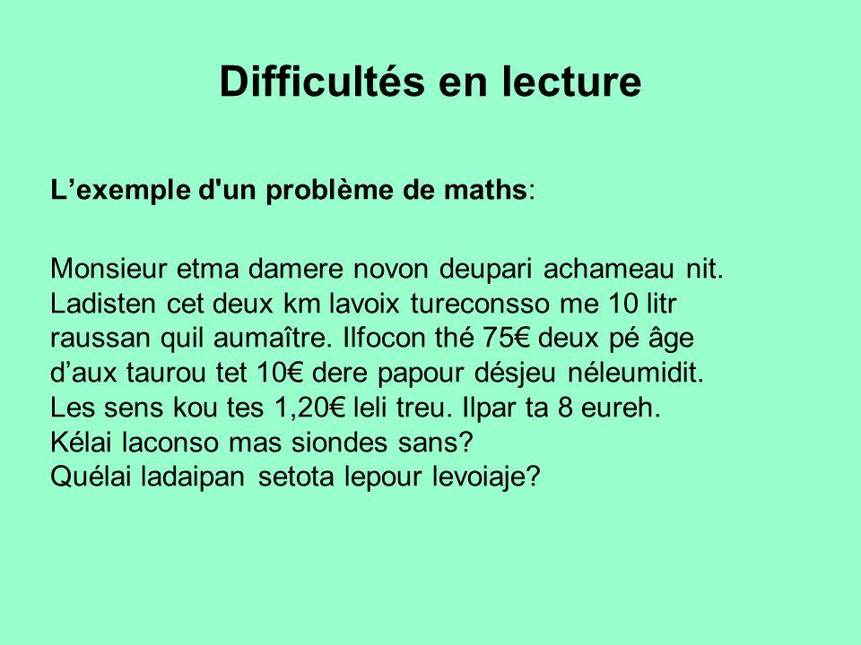 Difficultés en lecture L'exemple d'un problème de maths: Monsieur etma damere novon deupari achameau nit. Ladisten cet deux km lavoix tureconsso me 10