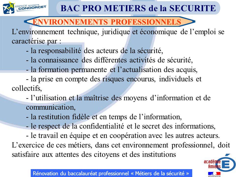 ENVIRONNEMENTS PROFESSIONNELS Rénovation du baccalauréat professionnel « Métiers de la sécurité » BAC PRO METIERS de la SECURITE L'environnement techn