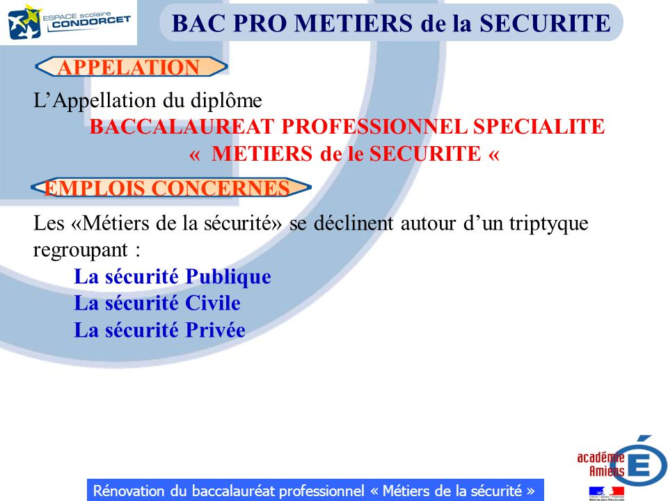 APPELATION BAC PRO METIERS de la SECURITE L'Appellation du diplôme BACCALAUREAT PROFESSIONNEL SPECIALITE « METIERS de le SECURITE « EMPLOIS CONCERNES