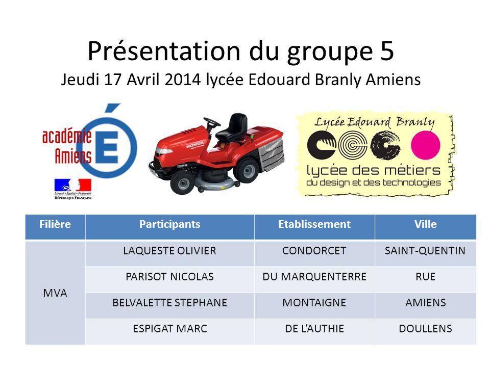 Présentation du groupe 5 Jeudi 17 Avril 2014 lycée Edouard Branly Amiens FilièreParticipantsEtablissementVille MVA LAQUESTE OLIVIERCONDORCETSAINT-QUEN