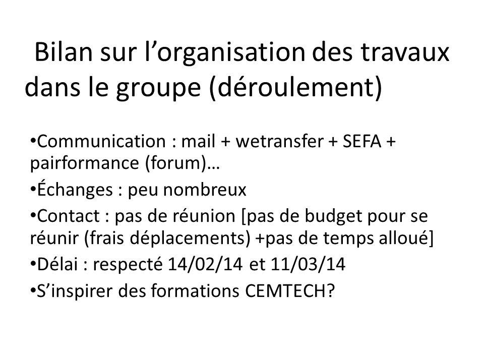 Bilan sur l'organisation des travaux dans le groupe (déroulement) Communication : mail + wetransfer + SEFA + pairformance (forum)… Échanges : peu nomb