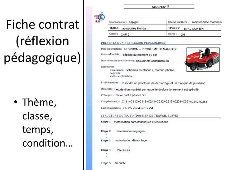 Fiche contrat (réflexion pédagogique) Thème, classe, temps, condition…