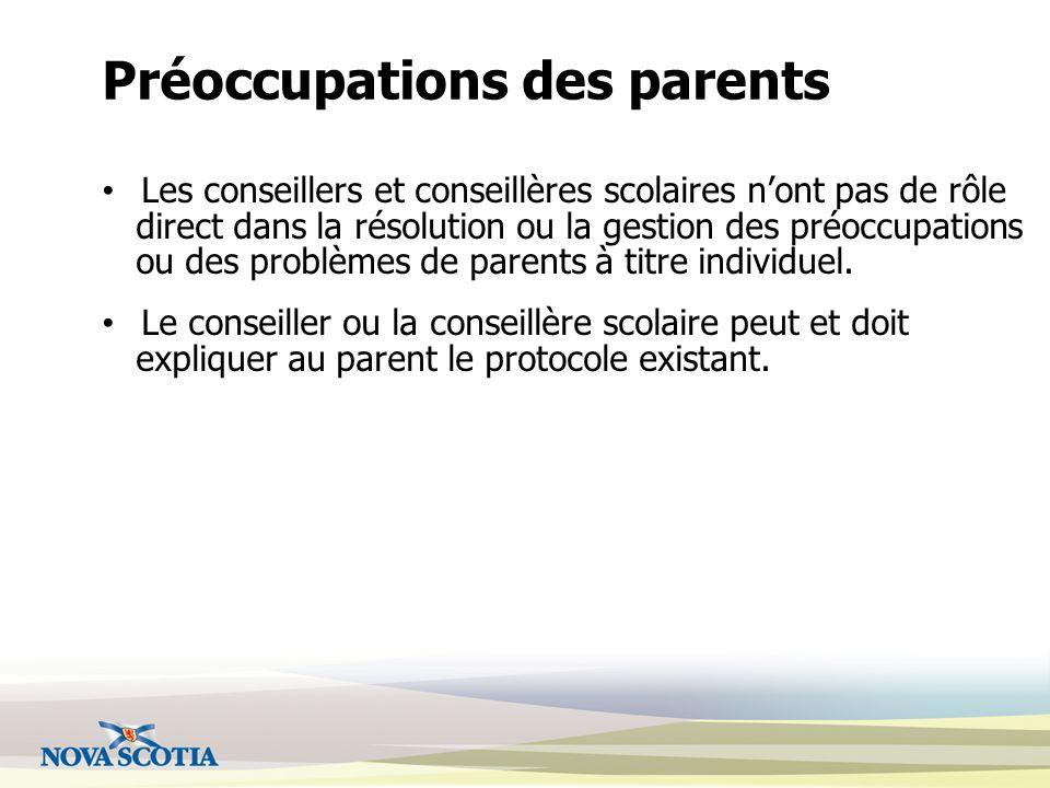Préoccupations des parents Les conseillers et conseillères scolaires n'ont pas de rôle direct dans la résolution ou la gestion des préoccupations ou des problèmes de parents à titre individuel.