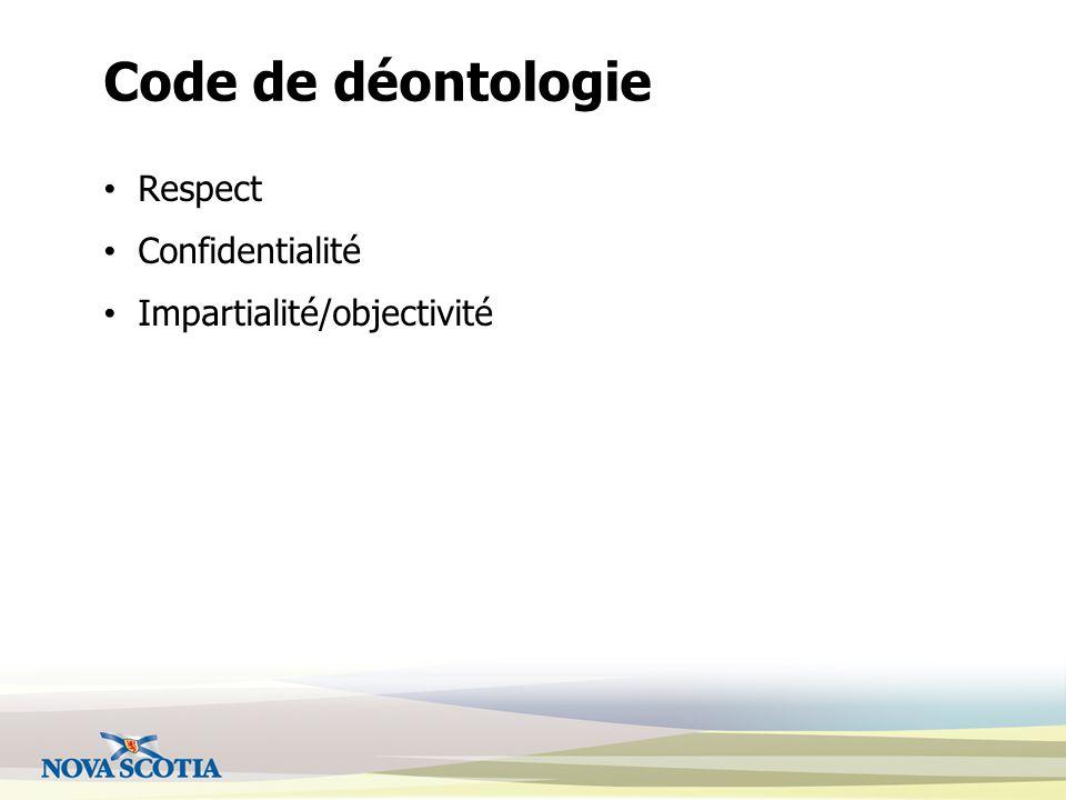 Code de déontologie Respect Confidentialité Impartialité/objectivité