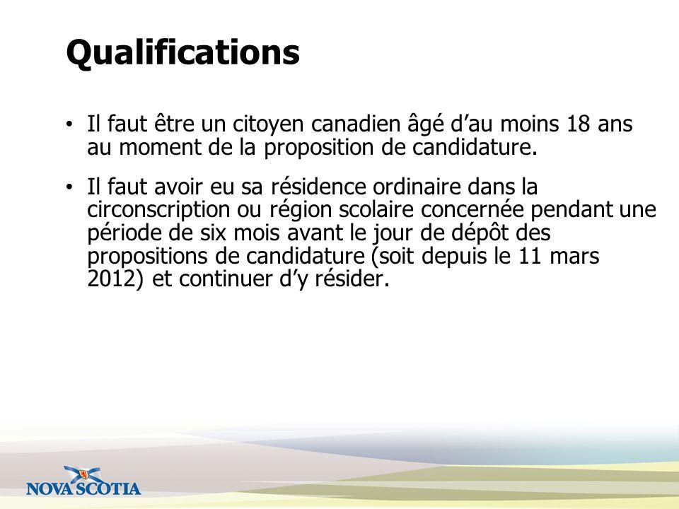 Qualifications Il faut être un citoyen canadien âgé d'au moins 18 ans au moment de la proposition de candidature.